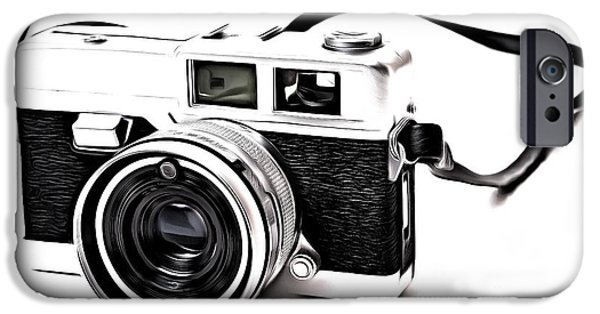 Straps iPhone Cases - Vintage Film Camera Pop iPhone Case by Edward Fielding