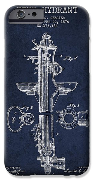 Fire Digital Art iPhone Cases - Vintage Fire Hydrant Patent from 1876 iPhone Case by Aged Pixel