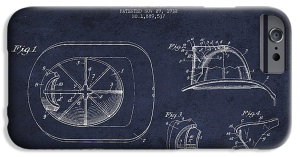 Gear iPhone Cases - Vintage Firefighter Helmet Patent drawing from 1932 - Navy Blue iPhone Case by Aged Pixel