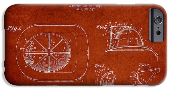 Gear iPhone Cases - Vintage Firefighter Helmet Patent drawing from 1932-Red iPhone Case by Aged Pixel