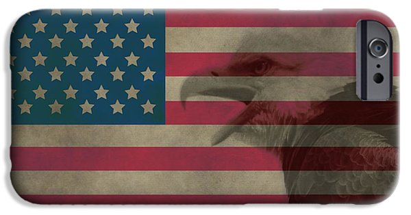 The Houses Mixed Media iPhone Cases - Vintage Flag With Bald Eagle iPhone Case by Dan Sproul