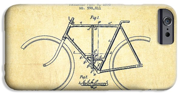 Transportation Digital Art iPhone Cases - Vintage Folding Bicycle patent from 1898 - Vintage iPhone Case by Aged Pixel