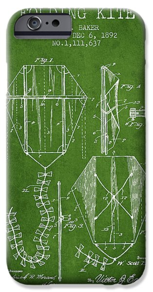 Kite iPhone Cases - Vintage Folding Kite Patent from 1892 - Green iPhone Case by Aged Pixel