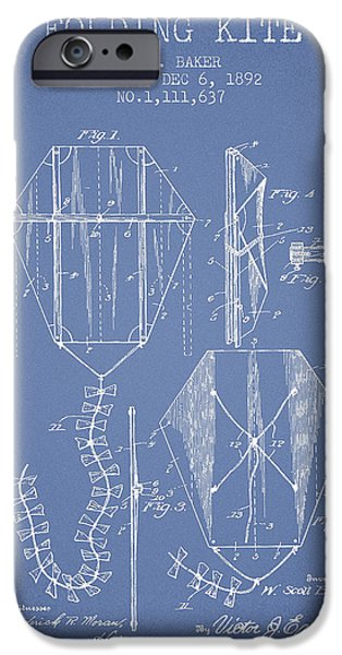 Kite iPhone Cases - Vintage Folding Kite Patent from 1892 -Light Blue iPhone Case by Aged Pixel