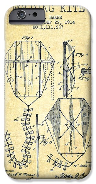Kite iPhone Cases - Vintage Folding Kite Patent from 1914 -Vintage iPhone Case by Aged Pixel
