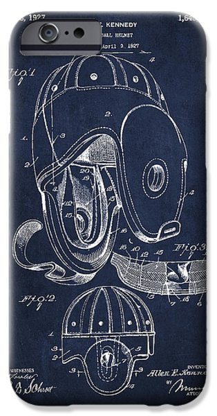 Vintage Football Helment Patent Drawing from 1927 iPhone Case by Aged Pixel