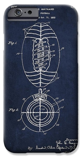 Technical iPhone Cases - Vintage Football Patent Drawing from 1923 iPhone Case by Aged Pixel