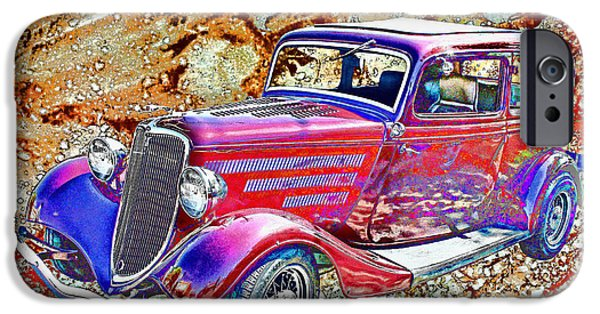 Ford iPhone Cases - Vintage FORD Art Color Sketch iPhone Case by Lesa Fine