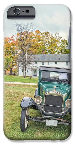 White Frame House iPhone Cases - Vintage Ford Model A Car iPhone Case by Edward Fielding