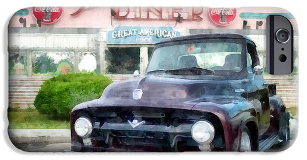 Diners iPhone Cases - Vintage Ford Pickup at the Diner iPhone Case by Edward Fielding