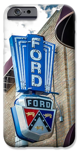 Nebraska iPhone Cases - Vintage Ford Sign iPhone Case by Paul Freidlund