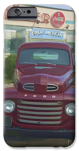 Diners iPhone Cases - Vintage Ford Truck outside the Tiltn Diner iPhone Case by Edward Fielding