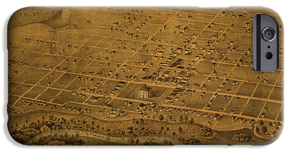 Worn In iPhone Cases - Vintage Fort Worth Texas in 1876 City Map On Worn Canvas iPhone Case by Design Turnpike