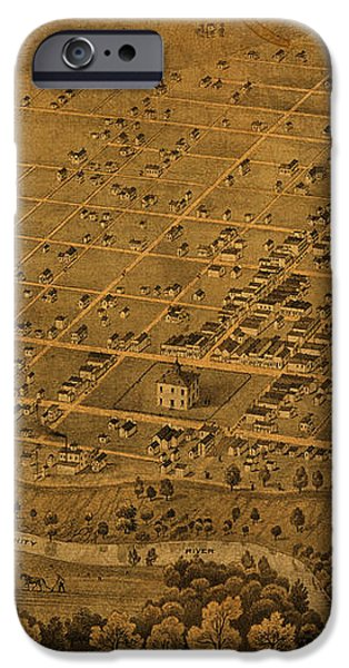 Vintage Fort Worth Texas in 1876 City Map On Worn Canvas iPhone Case by Design Turnpike