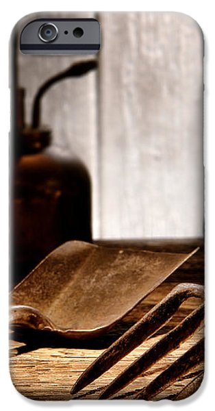 Vintage Gardening Tools iPhone Case by Olivier Le Queinec