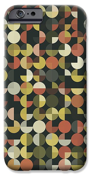 Retro iPhone Cases - Vintage Geometric Circle Pie Vertical Pattern iPhone Case by Frank Ramspott