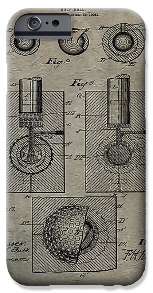 Professional Golf iPhone Cases - Vintage Golf Ball Patent iPhone Case by Dan Sproul