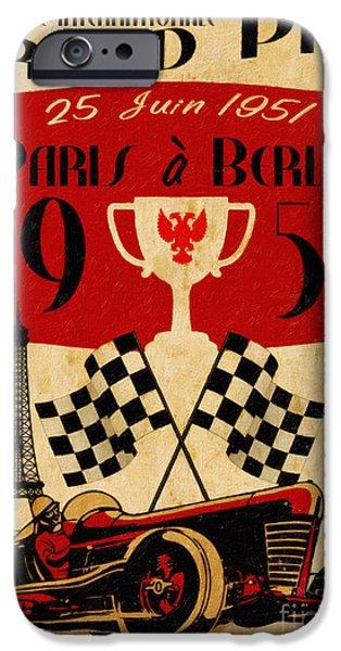 Retro Art iPhone Cases - Vintage Grand Prix Paris iPhone Case by Cinema Photography