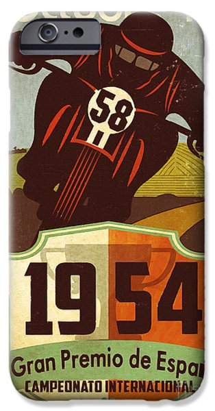 Retro Art iPhone Cases - Vintage Grand Prix Spain iPhone Case by Cinema Photography