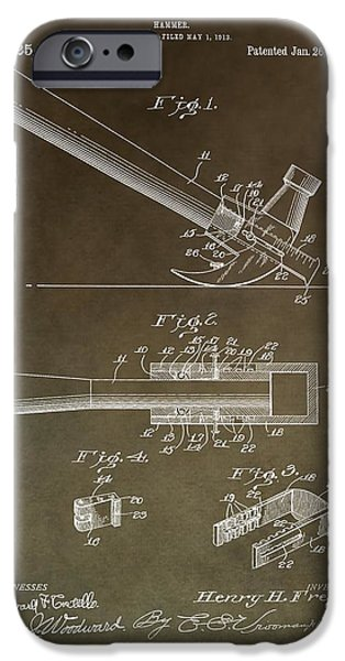 Slam Mixed Media iPhone Cases - Vintage Hammer Patent iPhone Case by Dan Sproul