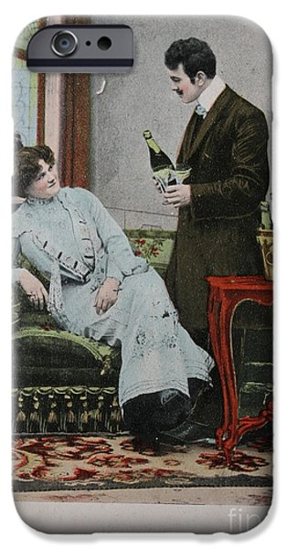 Vintage Wine Lovers Photographs iPhone Cases - Vintage Handtinted Postcard Of 1904 Of Two Lovers iPhone Case by Patricia Hofmeester