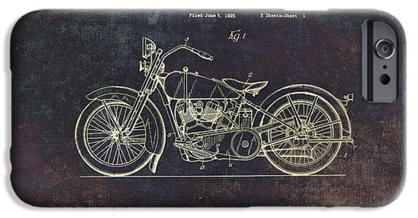 Power Lines Drawings iPhone Cases - Vintage Harley - Davidson Motorcycle Patent Drawing iPhone Case by Maria Angelica Maira
