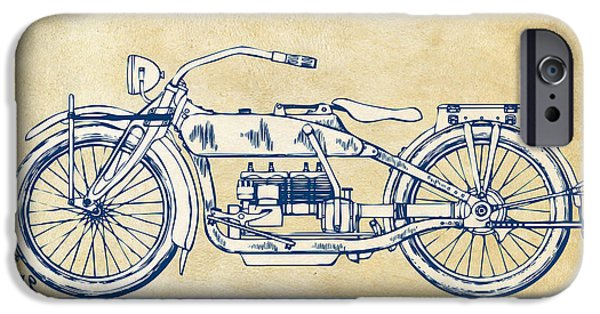 Sectioned iPhone Cases - Vintage Harley-Davidson Motorcycle 1919 Patent Artwork iPhone Case by Nikki Smith