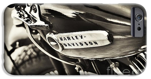 Selective Focus iPhone Cases - Vintage Harley Davidson Sepia  iPhone Case by Tim Gainey