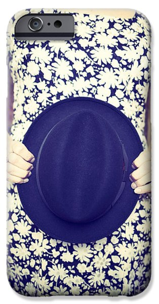 Hat iPhone Cases - Vintage hat flower dress woman iPhone Case by Edward Fielding