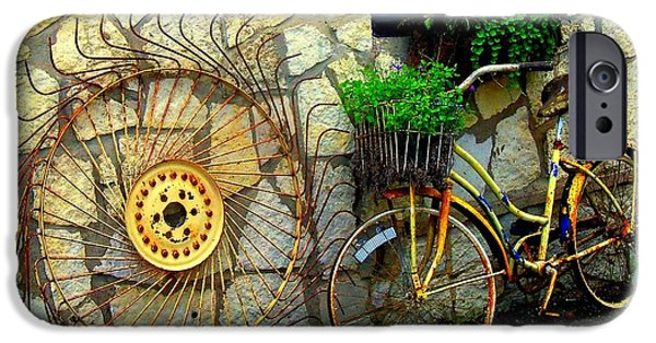 Rust iPhone Cases - Antique Store Hay Rake And Bicycle iPhone Case by ARTography by Pamela  Smale Williams
