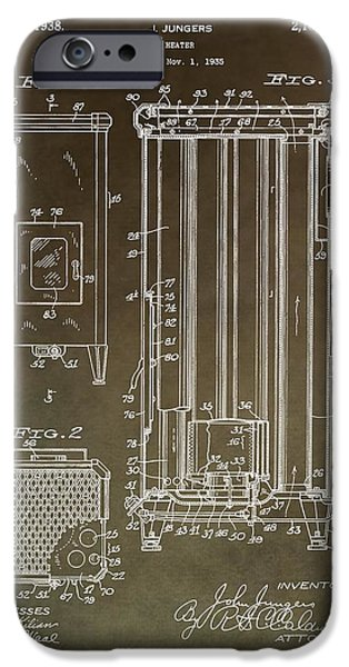 Repairman iPhone Cases - Vintage Heater Patent iPhone Case by Dan Sproul