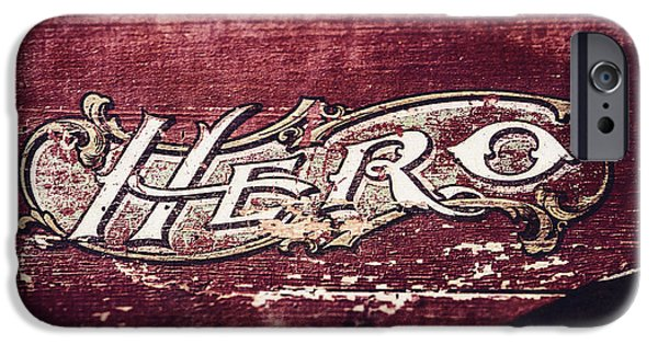 Words On Art iPhone Cases - Vintage Hero Sign in Rustic Red iPhone Case by Lisa Russo