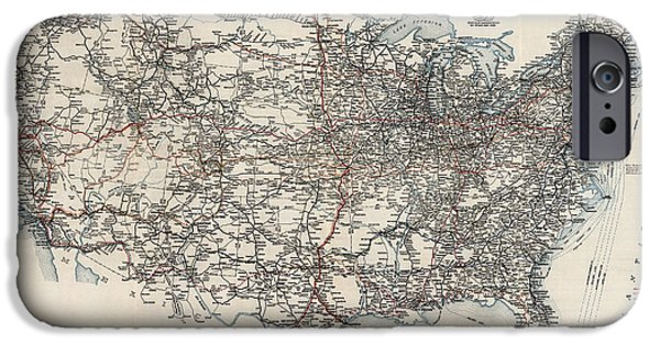 Association iPhone Cases - Vintage Highway Map of the United States by the American Automobile Association - 1918 iPhone Case by Blue Monocle