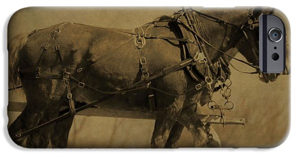 Agriculture Mixed Media iPhone Cases - Vintage Horse Plow iPhone Case by Dan Sproul
