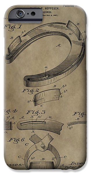 Horse Racing Digital Art iPhone Cases - Vintage Horseshoe Patent iPhone Case by Dan Sproul