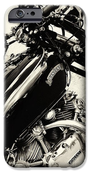 Monochrome iPhone Cases - Vintage HRD Vincent Series C Black Shadow iPhone Case by Tim Gainey