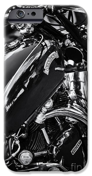 Monochrome iPhone Cases - Vintage HRD Vincent Series D Monochrome iPhone Case by Tim Gainey