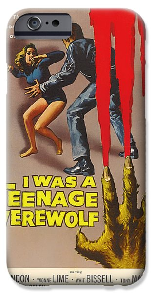 1950s Movies iPhone Cases - Vintage I Was a Teenage Werewolf Movie Poster iPhone Case by Mountain Dreams
