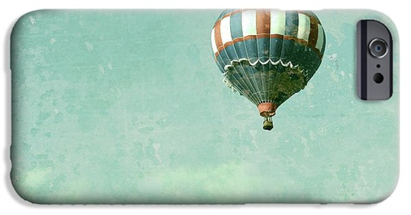 4th July Photographs iPhone Cases - Vintage Inspired Hot Air Balloon in Red White and Blue iPhone Case by Brooke Ryan