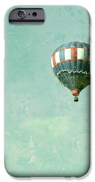 Vintage Inspired Hot Air Balloon in Red White and Blue iPhone Case by Brooke Ryan