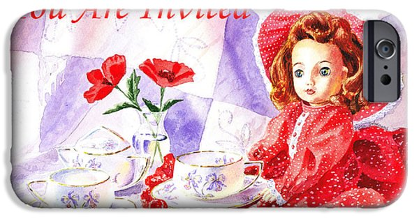 Tea Party iPhone Cases - Vintage Invitation iPhone Case by Irina Sztukowski