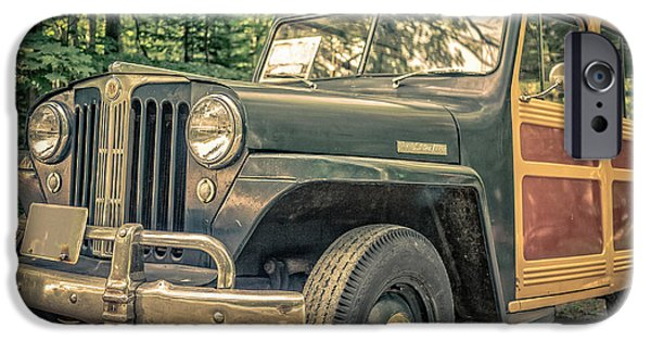 Station Wagon iPhone Cases - Vintage Jeep Station Wagon iPhone Case by Edward Fielding