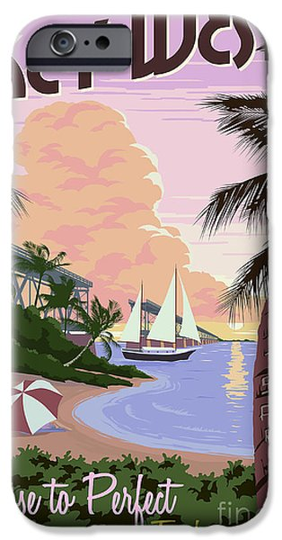 Ocean Drawings iPhone Cases - Vintage Key West Travel Poster iPhone Case by Jon Neidert