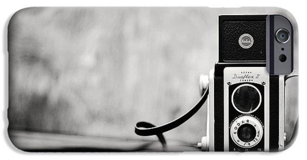 Rangefinder iPhone Cases - Vintage Kodak Duaflex II Camera Black and White iPhone Case by Terry DeLuco