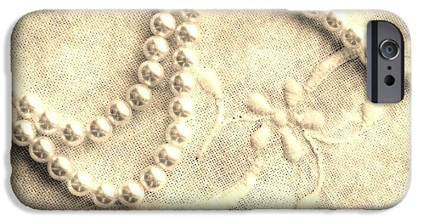 Still Life Tapestries - Textiles iPhone Cases - Vintage Lace and Pearls iPhone Case by Barbara Griffin