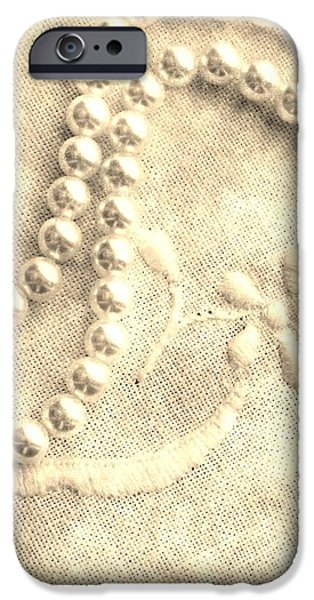 Vintage Lace and Pearls iPhone Case by Barbara Griffin