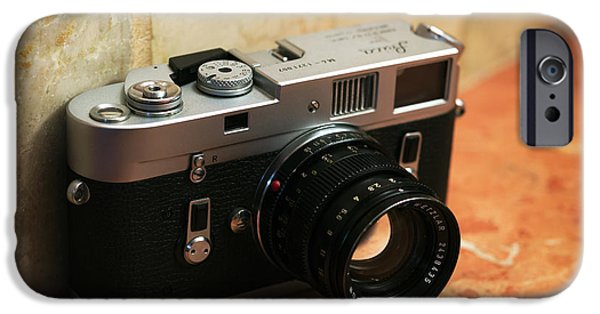 Rangefinder iPhone Cases - Vintage Leica M4 iPhone Case by John Rizzuto
