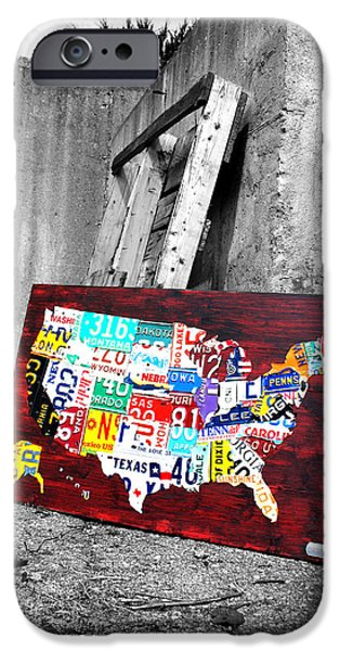 Alley Mixed Media iPhone Cases - Vintage License Plates Reborn iPhone Case by Design Turnpike