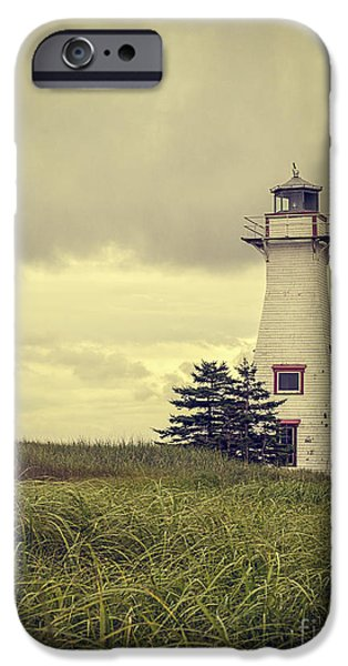 Prince iPhone Cases - Vintage Lighthouse PEI iPhone Case by Edward Fielding