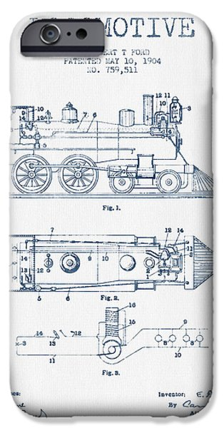 Train iPhone Cases - Vintage Locomotive patent from 1904  -  Blue Ink iPhone Case by Aged Pixel